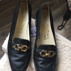 Black leather Ferragamo ladies shoes